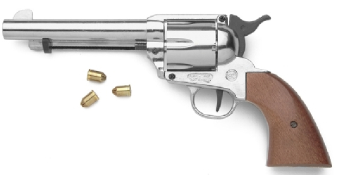 9mm Blank Fire Replica of 1873 Single Action Army .45 in nickel with black grip